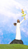 Jesus Freedom From Sins and Darkness. Jesus the rock with a bible and torch Stock Photos