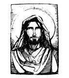 Jesus friend. Hand drawn vector illustration or drawing of Jesus Christ friendly face Stock Image