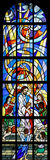 Jesus, Friend of Little Children. Stained glass church window Stock Photography
