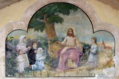 Jesus friend of the little children. Fresco in the Church of Saint Saint Michael in Vugrovec, Croatia Stock Photography