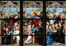 Jesus, Friend of Little Children. Stained glass, Saint Severin church, Paris, France Stock Photography