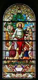 Jesus, Friend of Little Children. Stained glass window Stock Images