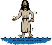 jesus gå vatten vektor illustrationer