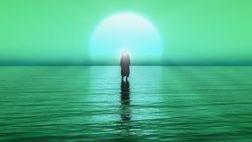 Jesus går på vatten, mirakel av Jesus Christ, profeten av guden, framför 3D med grön och blå färg royaltyfri illustrationer