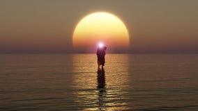 Jesus går på vatten, mirakel av Jesus Christ, profeten av guden, tolkningen 3D royaltyfri illustrationer