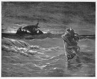 Jesus geht auf das Meer Lizenzfreie Stockbilder