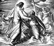 Jesus geht auf Wasser Stockfotografie