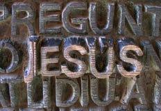Jesus geschrieben in metallische Zeichen Stockbilder