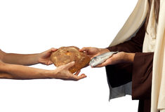 Jesus gives bread and fish royalty free stock image