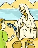 Jesus Giving Fish Sea of Galilee stock photography