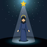 Jesus god cartoon design. Jesus god cartoon icon. Holy family and merry christmas season theme. Colorful design. Vector illustration Royalty Free Stock Photo