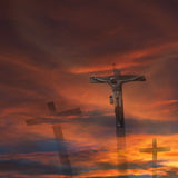 Jesus god cross religion. Jesus Christ on the cross against dark red sky and cloudscape, religion concepts Royalty Free Stock Photography