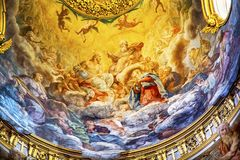 Jesus Fresco Dome Ceiling Santa Maria Maddalena Church Rome Ita. Jesus God Father Fresco Ceiling Dome Santa Maria Maddalena Church Rome Italy. Church named for royalty free stock photography
