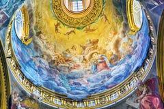 Jesus God Fresoc Dome Santa Maria Maddalena Church Rome Italy. Jesus God Father Dome Santa Maria Maddalena Church Rome Italy. Church named for Saint Mary stock image