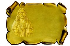 Jesus on a golden plaque Stock Images
