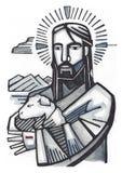 Jesus Good Shepherd Stock Foto's