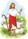 Jesus is a good shepherd. Easter Christian background Stock Image