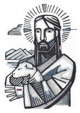 Jesus Good Shepherd. Hand drawn illustration or drawing of Jesus as Good Shepherd Stock Photos