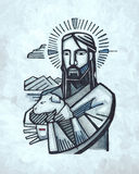 Jesus Good Shepherd-illustratie Royalty-vrije Stock Foto's