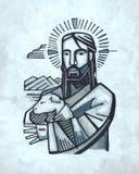 Jesus Good Shepherd illustration. Hand drawn illustration or drawing of Jesus as Good Shepherd Royalty Free Stock Photos
