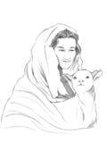 Jesus Good Shepherd and Lamb Stock Image