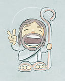 Jesus Good Shepherd smiling cartoon Royalty Free Stock Images
