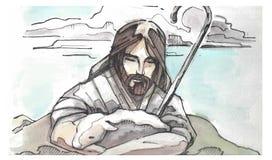 Jesus Goos Shepherd-illustratie Royalty-vrije Stock Foto