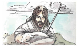 Jesus Goos Shepherd illustration. Hand drawn watercolor illustration or drawing of Jesus Christ Good Shepeherd hugging a sheep Royalty Free Stock Photo