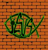 Jesus Graffiti Wall. Graffiti depicting a Christian fish on a brick built wall with the word Jesus Royalty Free Stock Image