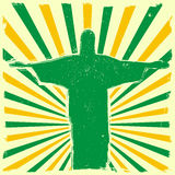 Jesus on grungy burst background. Detailed illustration of the Jesus Statue of Rio de Janeiro in front of a grungy burst backbround Royalty Free Stock Photos