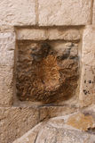 Jesus Hand Imprint - Via Dolorosa, Jerusalem. Via Dolorosa, Jerusalem, Israel. An old square stone, located on the right side of the structure, has a cavity Royalty Free Stock Photo