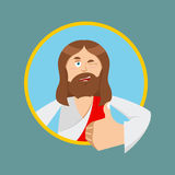 Jesus hands shows thumbs upl. Son of God. Signs all right. Thumb Stock Photography