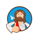 Jesus hands shows thumbs upl. Son of God. Signs all right. Thumb Stock Photo
