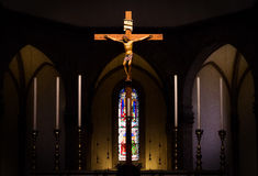 Jesus hanging on the cross Royalty Free Stock Photography