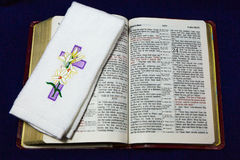 Jesus has Risen Cross on Bible Stock Photos