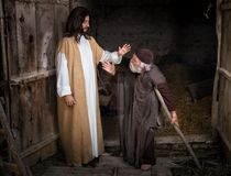Jesus healing the lame. Or crippled man Royalty Free Stock Photos