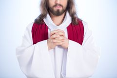 Jesus in heaven. Jesus Christ in blue heaven after resurrection Royalty Free Stock Images