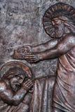 Jesus in heaven handing the crown to Joseph for his faithful service. Saint Joseph parish church in Varazdin, Croatia royalty free stock photography