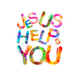 Jesus helps you. Triangular letters Stock Images