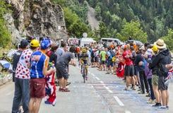 Jesus Hernandez Blazquez Climbing Alpe D'Huez Imagens de Stock Royalty Free
