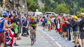 Jesus Hernandez Blazquez Climbing Alpe D'Huez Imagem de Stock Royalty Free