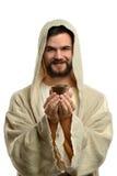 Jesus Holding Communion Cup Royaltyfri Foto