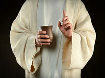 Jesus Holding Cup of Wine Stock Photography