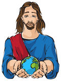 Jesus holding the hands planet Earth Stock Image