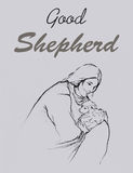 Jesus holding a lamb in his arms drawing line art illustration with word Good Shepherd Royalty Free Stock Images