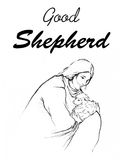 Jesus holding a lamb in his arms drawing line art illustration with word Good Shepherd Royalty Free Stock Photography
