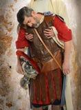 Jesus Holding Roman Soldier Arkivbilder