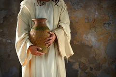 Jesus Holding Water Jar Royalty Free Stock Image