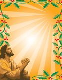 Jesus and Holly Border Royalty Free Stock Photos