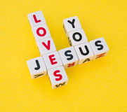Jesus houdt van u stock afbeeldingen
